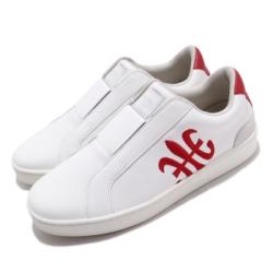 Royal Elastics 休閒鞋 Bishop 低筒 穿搭 男鞋 基本款 皮革 套腳 簡約 輕便 舒適 白 紅 01702019