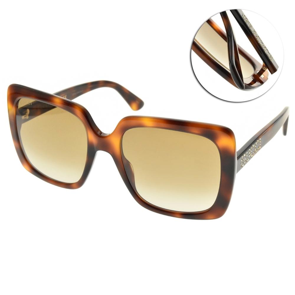 GUCCI 太陽眼鏡 大方框款/琥珀棕 #GG0418S 003