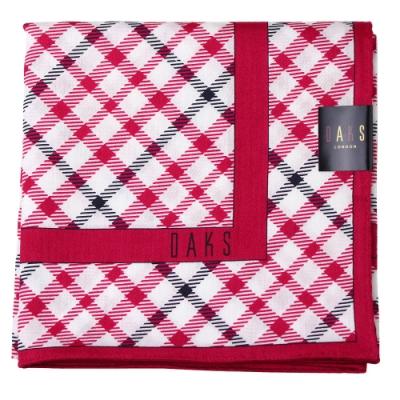 DAKS  經典粗斜格 大款帕領巾-桃紅色