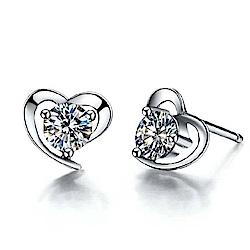 米蘭精品 925純銀耳環-心形鏤空鑲鑽耳環
