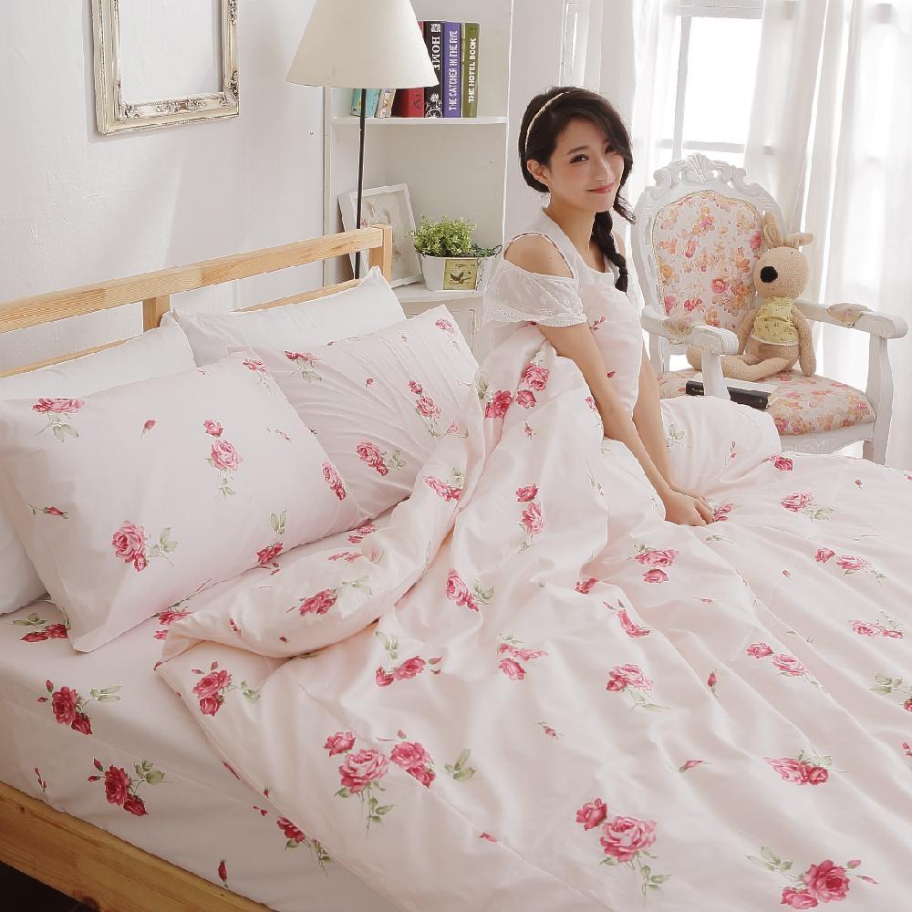 BUHO 雙人四件式精梳純棉床包被套組(夏日玫瑰-紅)