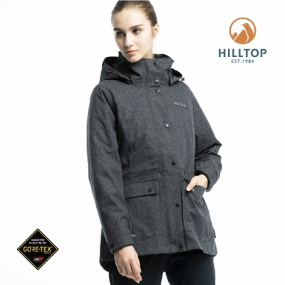 【hilltop山頂鳥】女款GORE-TEX三合一羽絨短大衣F22F01黑麻花