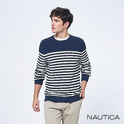Nautica細條紋針織長袖毛衣-藍白條紋