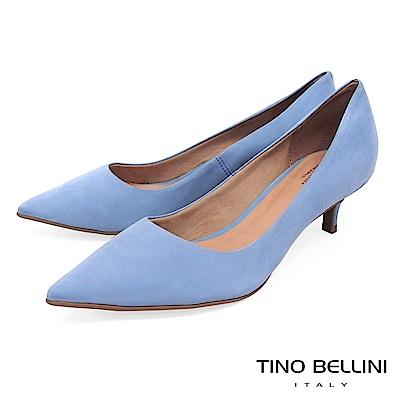 Tino Bellini 巴西進口清新純色簡約尖楦中跟鞋 _ 藍