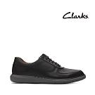 Clarks UN 微尖頭側面透氣孔綁帶正裝休閒鞋 黑色