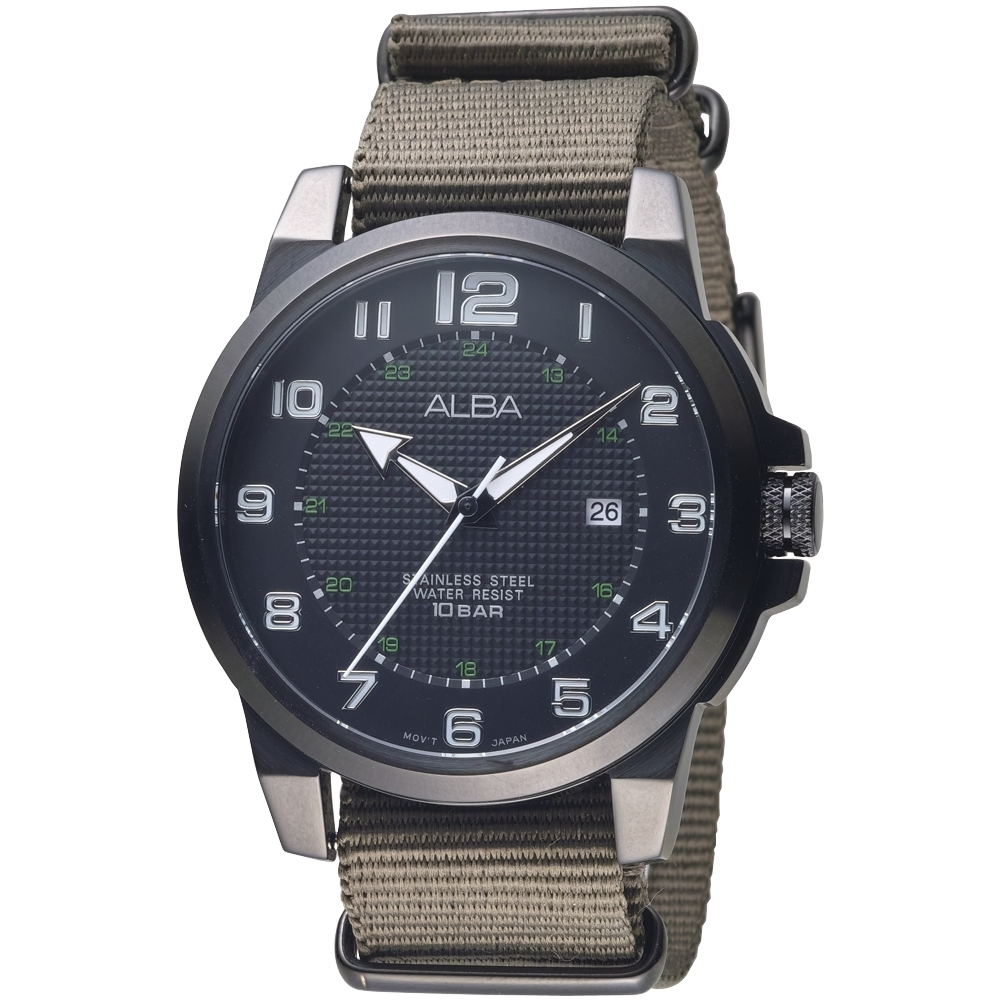 ALBA雅柏手錶 黑色框戶外休閒風時尚男錶(AS9C73X1)/45mm 保固二年