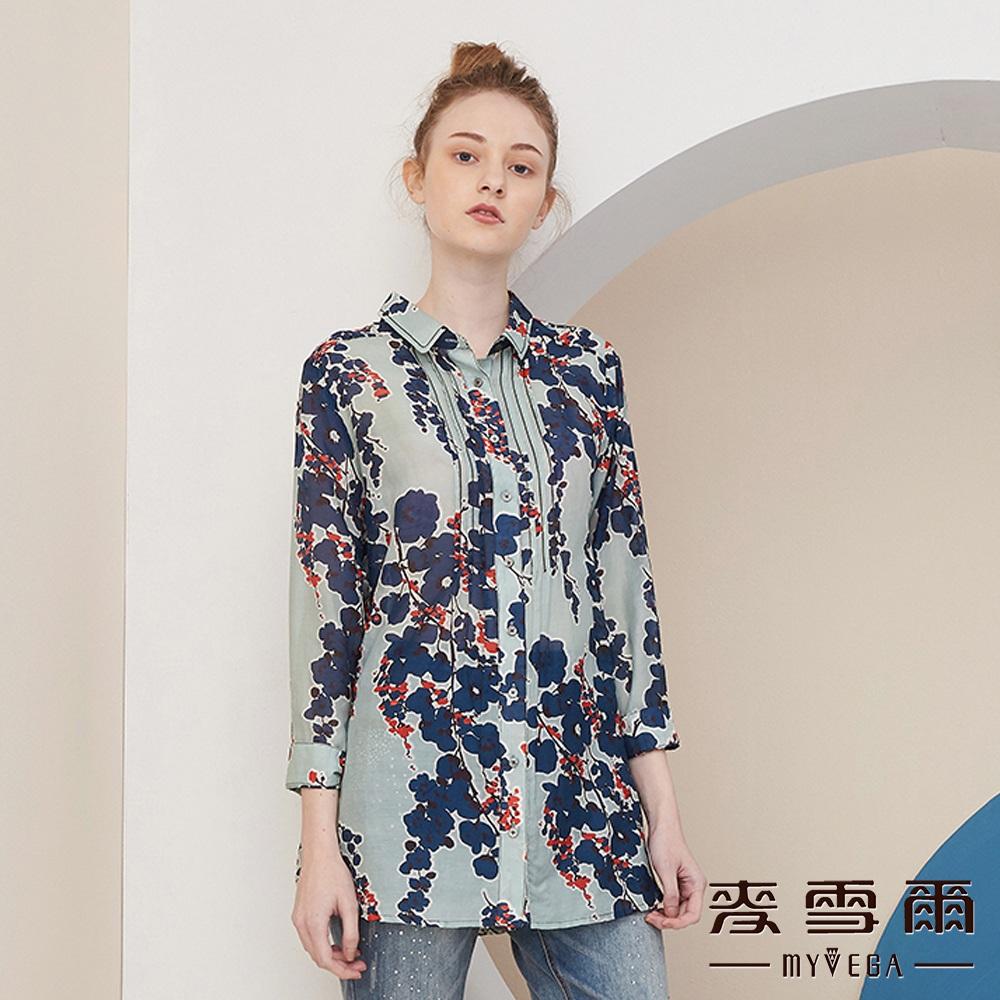 【麥雪爾】純棉抽象撞色花朵輕柔襯衫