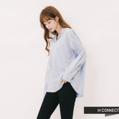 H:CONNECT 韓國品牌 女裝 - 簡約領口造型襯衫-藍