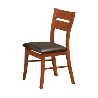 Boden-羅素實木皮面餐椅/單椅(黑色)(四入組合)-38x42x89cm