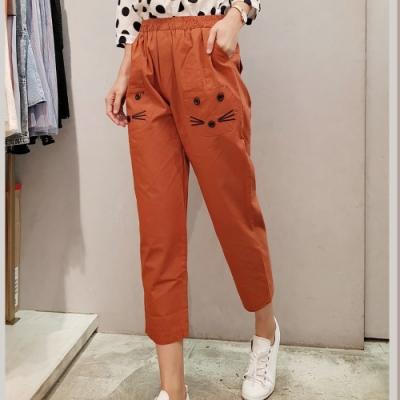 【白鵝buyer】秋款 休閒可愛棉料貓咪休閒褲-橘色