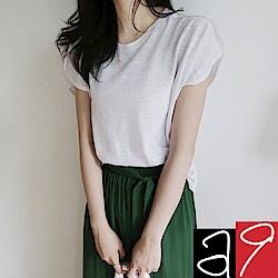 正韓 棉麻圓領花苞袖素T恤-(紅棕)a9