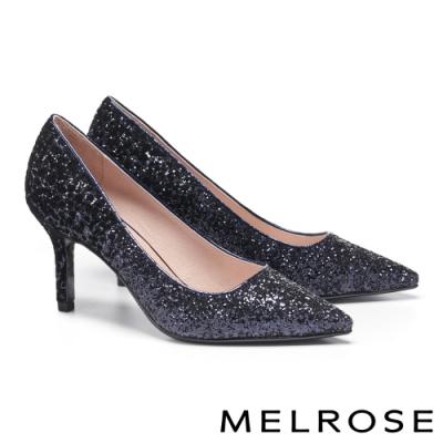 高跟鞋 MELROSE 華麗璀璨絢彩金蔥尖頭高跟鞋-藍
