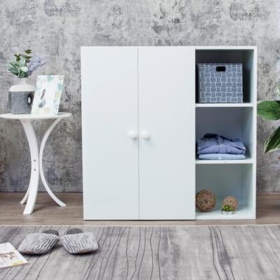 Birdie南亞塑鋼-防水二門三格組合式塑鋼衣櫃/單吊桿衣櫃/白色90x46.5x90cm