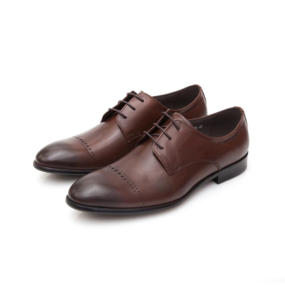 ALLEGREZZA真皮男鞋-重返時尚-鞋面花紋縷空穿孔德比鞋 咖啡紅色