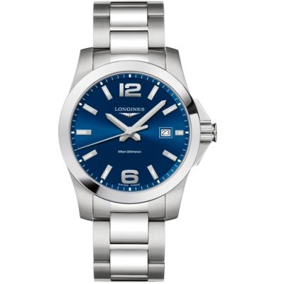 LONGINES浪琴康卡斯系列300米石英錶(L37604966)-藍