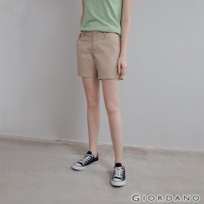 GIORDANO 女裝素色休閒卡其短褲 - 15 卡其