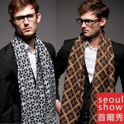 Seoul Show首爾秀 男士秋冬商務休閒百搭針織圍巾仿羊絨毛圍脖
