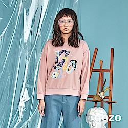 gozo 造型品牌logo插畫印花純棉大學T(二色)