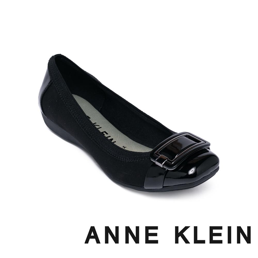 ANNE KLEIN-AKUNICE 百搭飾釦平底娃娃鞋 - 黑色