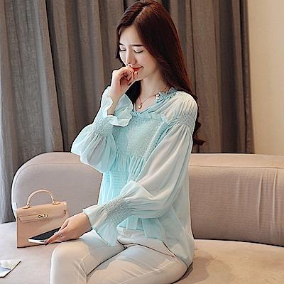 荷葉蕾絲公主袖雪紡衫-S~XL-白色戀人
