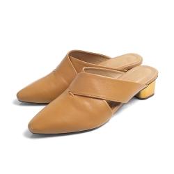 KOKKO - 素面方頭羊皮穆勒金屬跟鞋 - 奶茶色