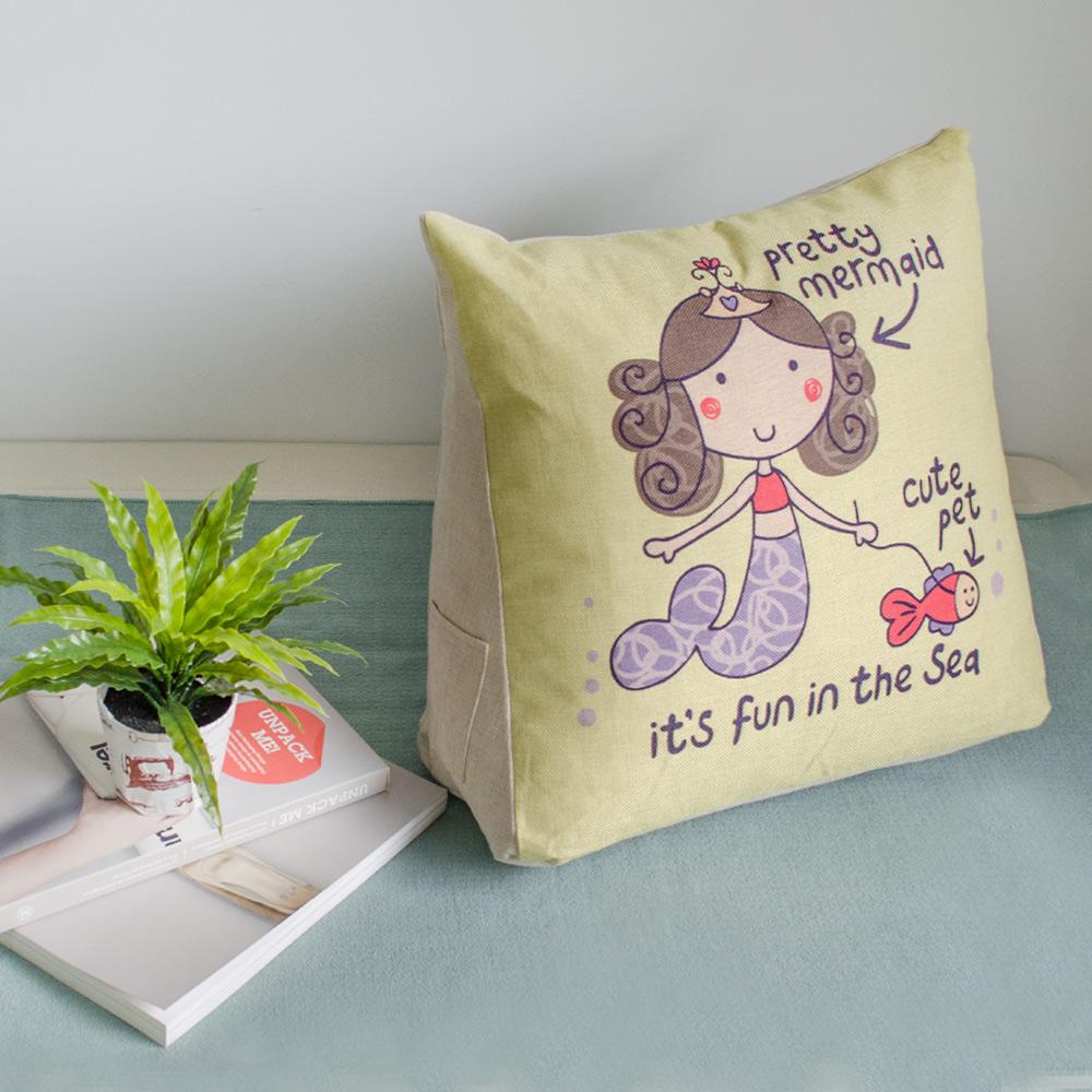 【收納職人】Zakka日系雜貨風棉麻織紋舒壓三角抱枕/靠枕/腿枕(小美人魚)