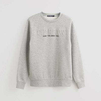 Hang Ten -男裝-純色字母壓印內裏刷毛長袖上衣-灰