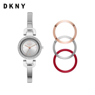 【DKNY】City link D字物語不鏽鋼手鐲錶 26MM NY2861(多色錶框套組)