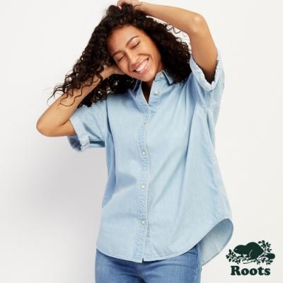 女裝Roots- 單寧色短袖襯衫-藍色