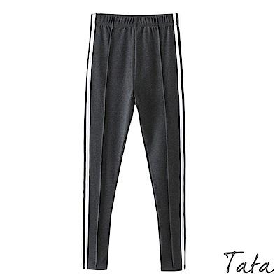 側邊條紋鬆緊腰內搭休閒褲 共二色 TATA