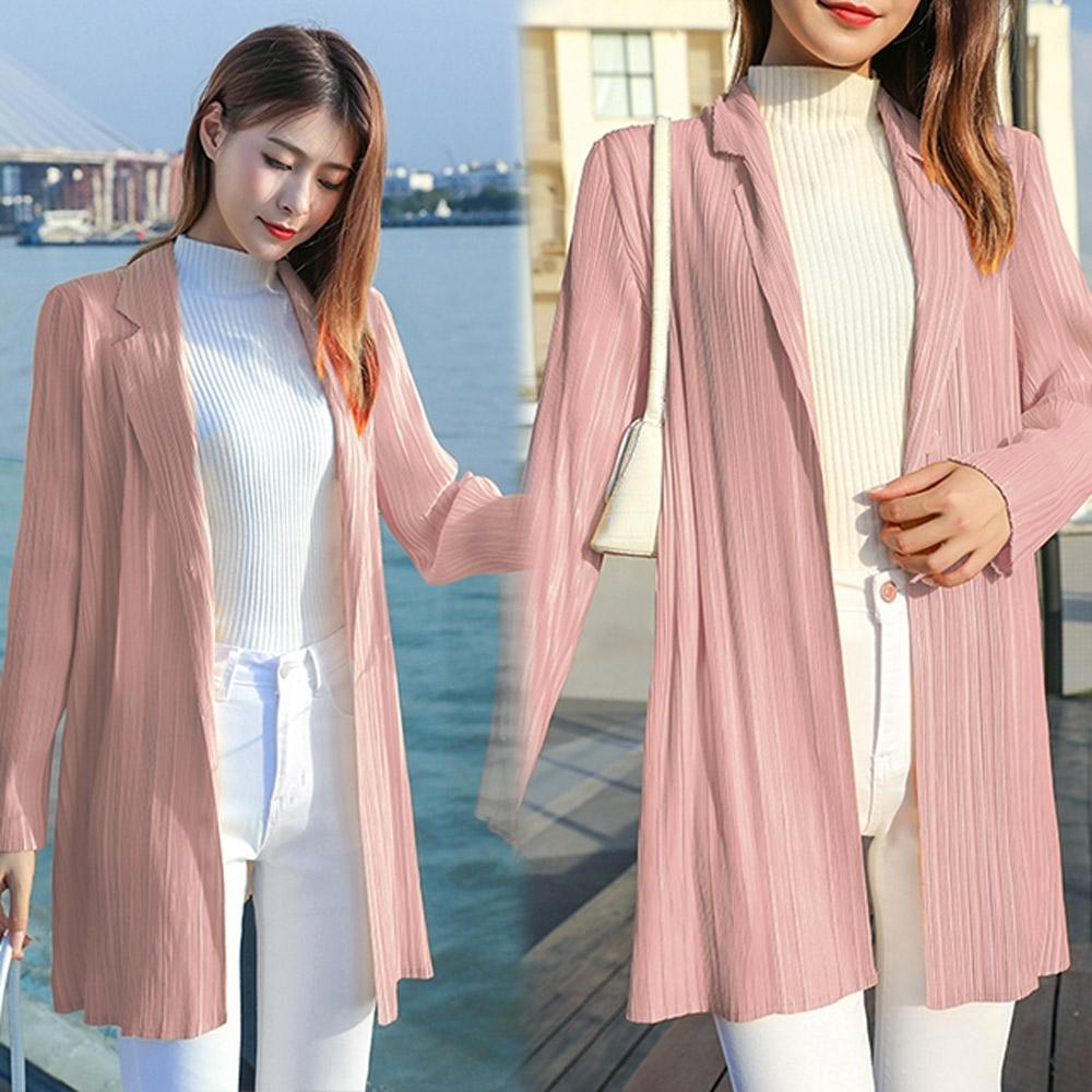 【KEITH-WILL】(預購)韓國設計時尚百搭壓褶外套(共3色) (粉色)