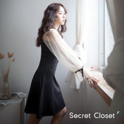 Secret Closet-氣質V領拼接網連身洋裝