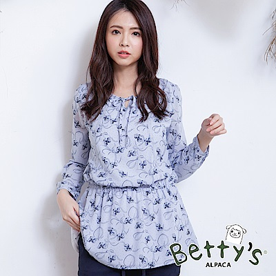 betty's貝蒂思 氣質蝴蝶結造型鬆緊上衣(淺紫)