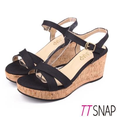 TTSNAP楔型涼鞋-夏日百搭露趾軟木厚底坡跟涼鞋 黑