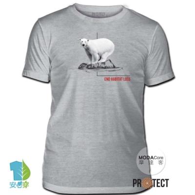 摩達客-美國The Mountain保育系列 消失冰河北極熊 灰色修身短袖T恤