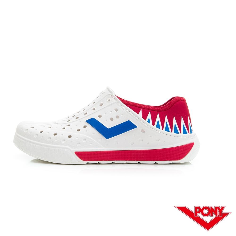 【PONY】ENJOY輕量透氣洞洞鞋 雨鞋 懶人鞋 涼鞋 男女鞋 國旗配色藍/紅