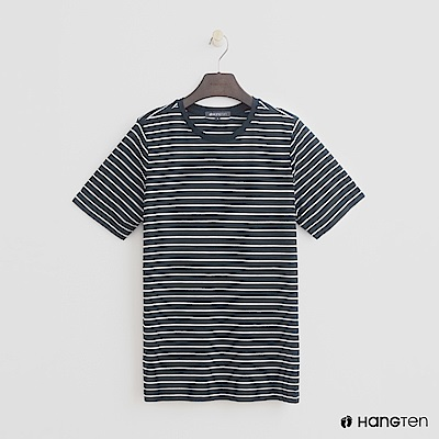 Hang Ten - 女裝 - 簡約韓系細條紋短T - 藍白條