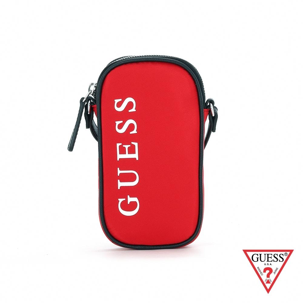 GUESS-女包-素面簡約LOGO印字手機包-紅 原價1690