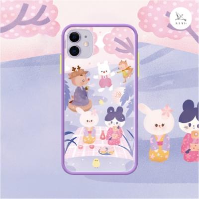 漁夫原創 iPhone SE2 手機殼 防摔保護殼 橘鳥樂隊系列 春日櫻小隊 紫邊