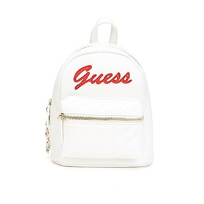 GUESS-女包-撞色拼接小型後背包-白
