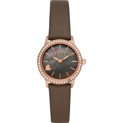 ELLE Alma系列愛上妳時尚女錶-珍珠貝x灰色錶帶/28mm ELL21033
