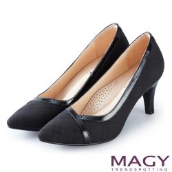 MAGY 時髦氣場 雙材質拼接尖頭高跟鞋-黑色