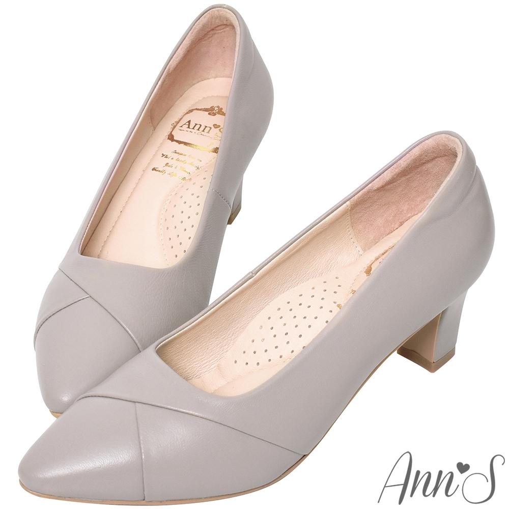 Ann'S此生最好穿-頂級小羊皮備受呵護跟鞋-紫灰