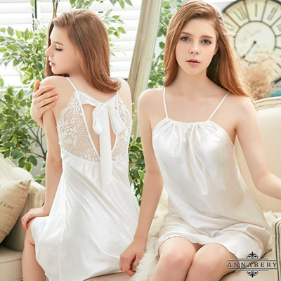 大尺碼甜美簡約風白色緞面美背式性感睡衣 白 L-2L Annabery