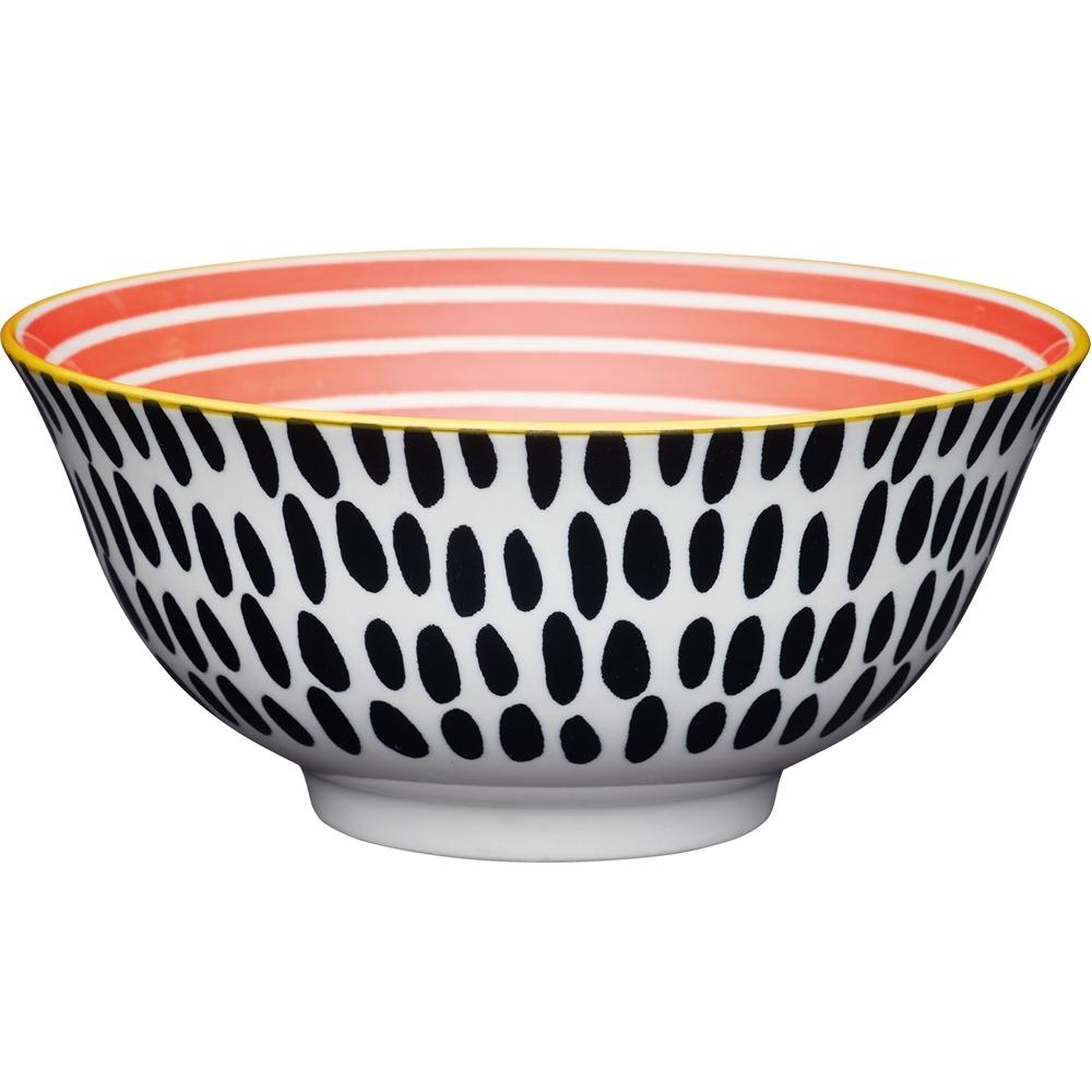 《KitchenCraft》陶製餐碗(墨黑長點)