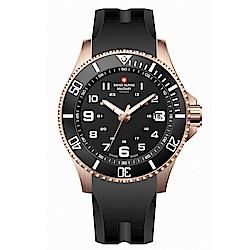 阿爾卑斯軍錶S.A.M 紅色警戒系列潛將-特攻金/橡膠錶帶