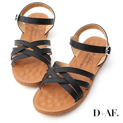 D+AF 話題新作.交叉設計平底編織涼鞋*黑