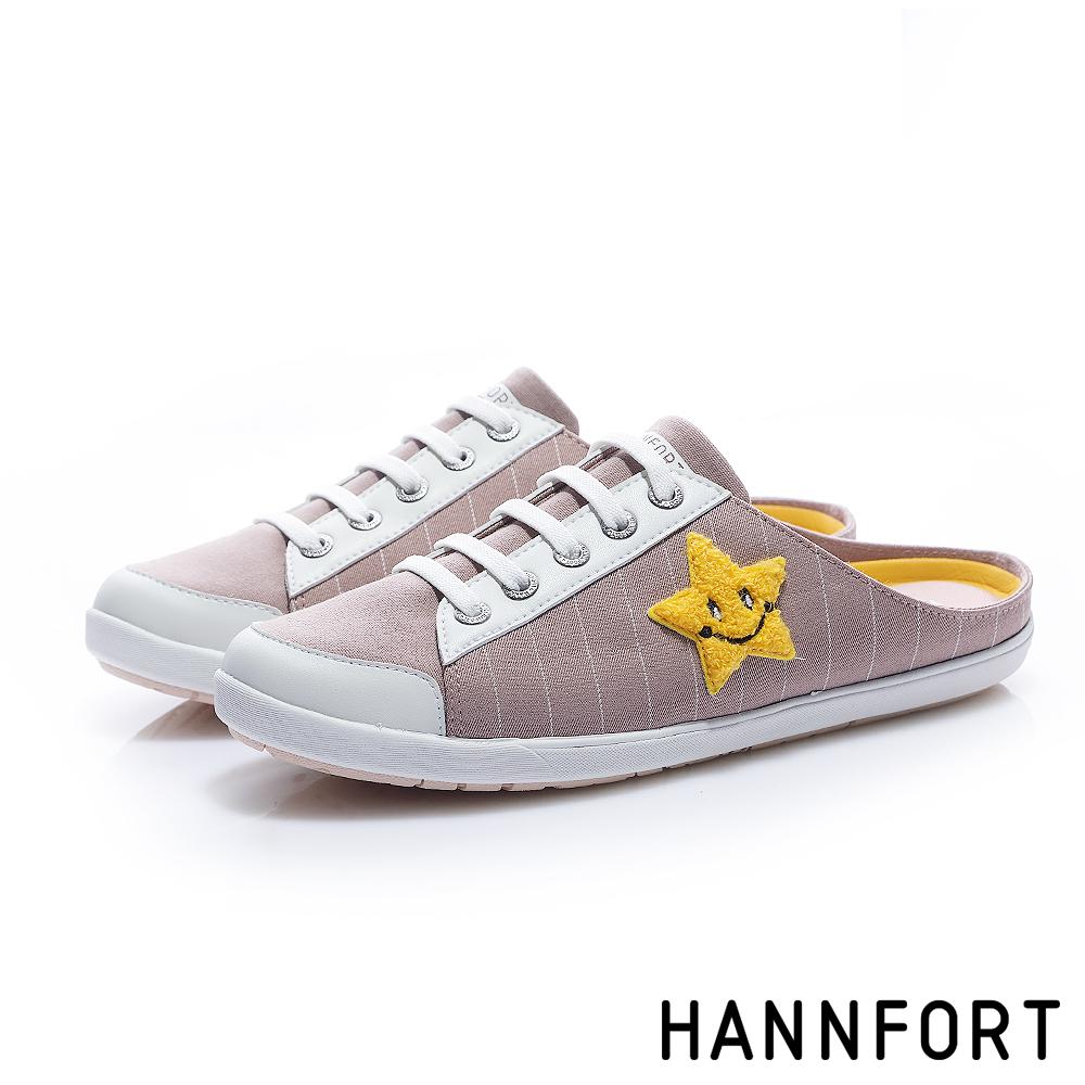HANNFORT CALIFORNIA童趣塗鴉帆布休閒穆勒鞋-女-知性粉