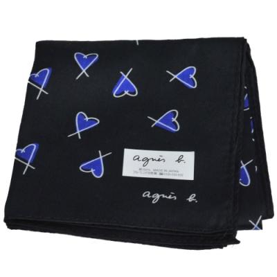 agnes b 繽紛塗鴉愛心品牌字母LOGO帕領巾(黑系)