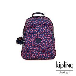 Kipling 古典茜紅小花前側拉鍊大口袋後背包-ICHIWA S